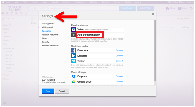 add another account in yahoo mail