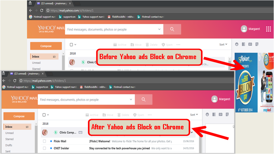 yahoo ads Block on Chrome